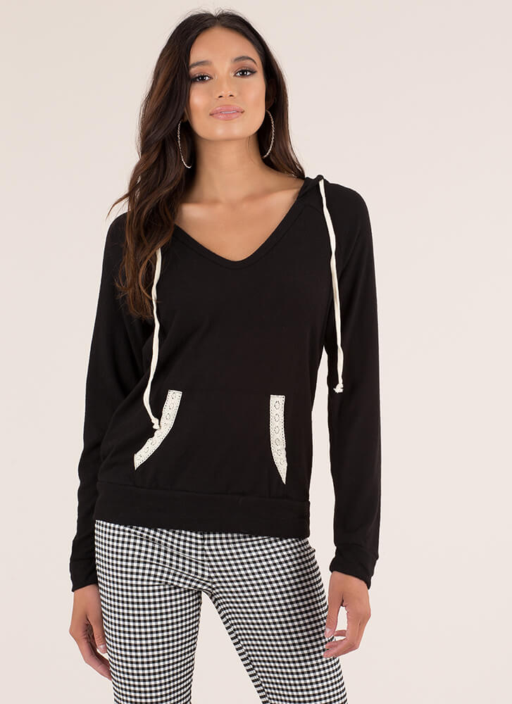 Feminine Touch Knit Lace Trim Hoodie BLACK