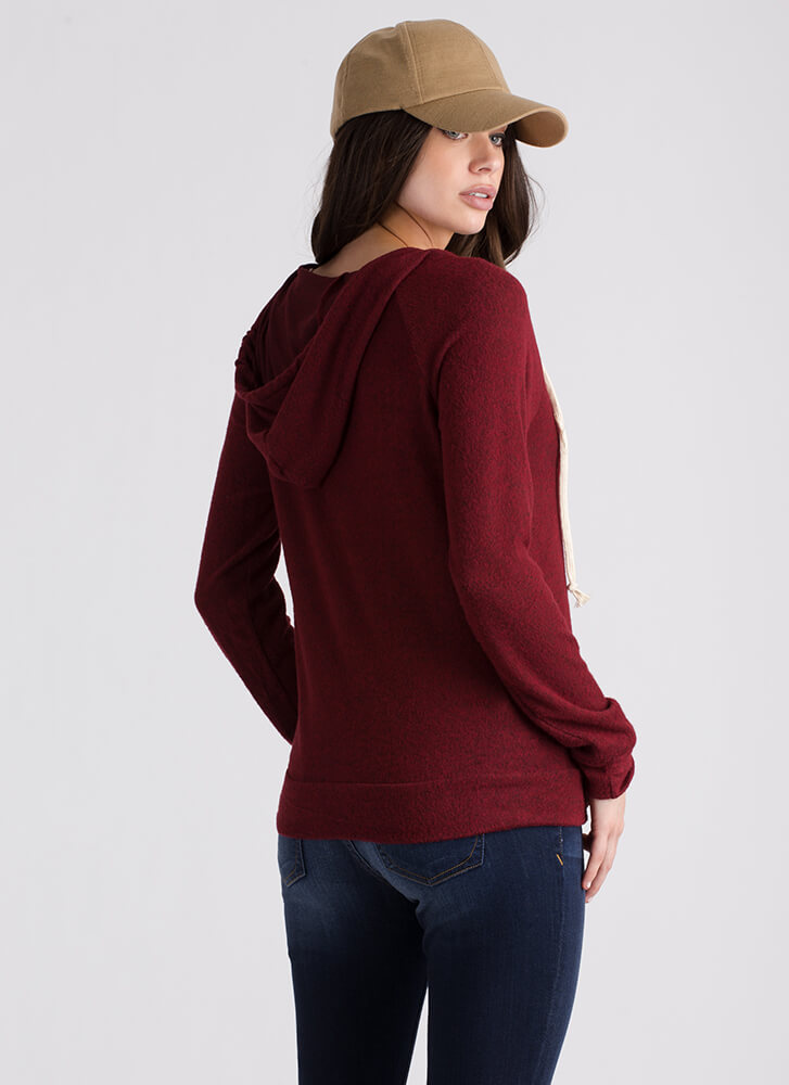 Feminine Touch Knit Lace Trim Hoodie BURGUNDY