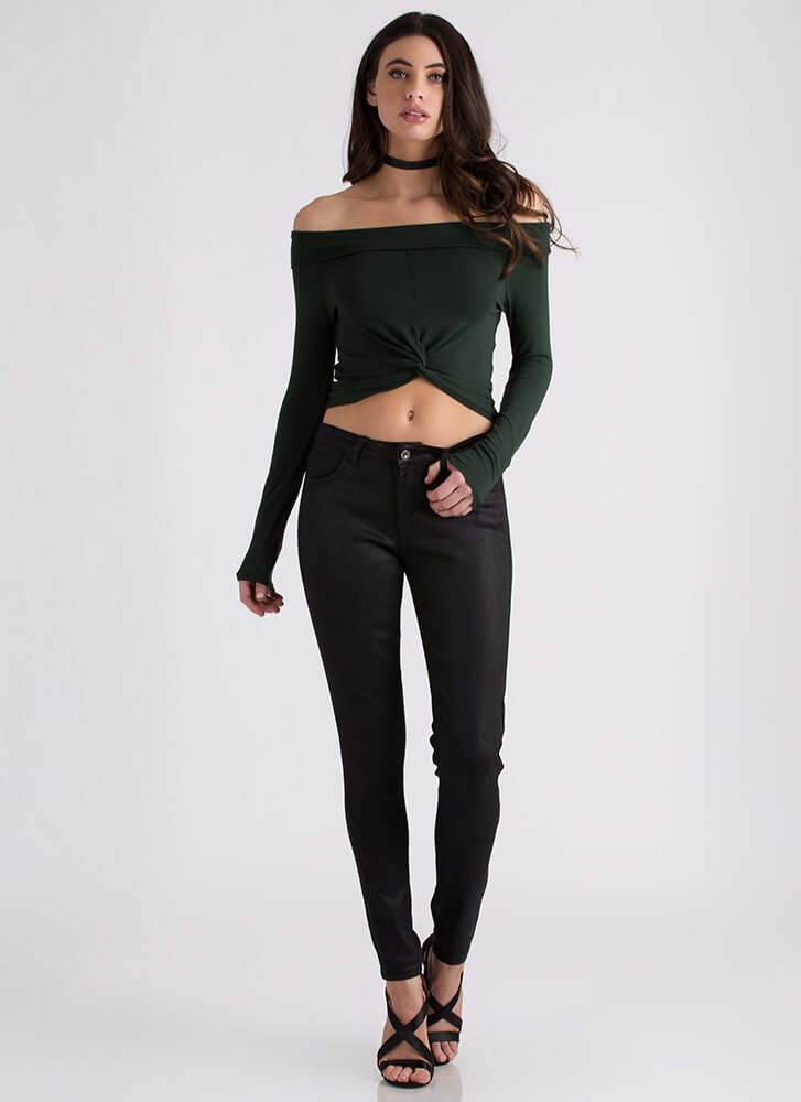 With A Twist Off-Shoulder Crop Top HUNTERGREEN