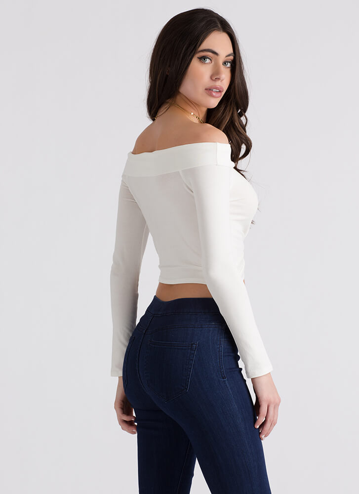 With A Twist Off-Shoulder Crop Top IVORY