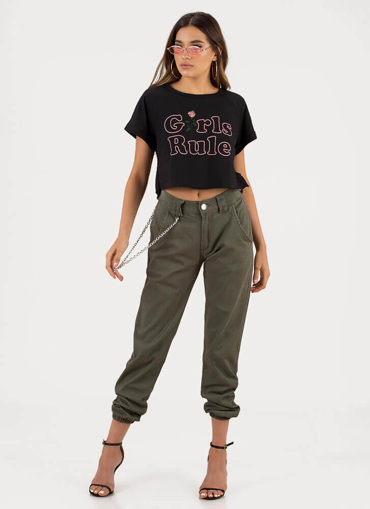 Girls Rule Rose Graphic Crop Top BLACK