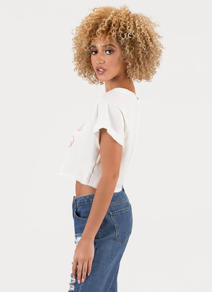 Girls Rule Rose Graphic Crop Top IVORY