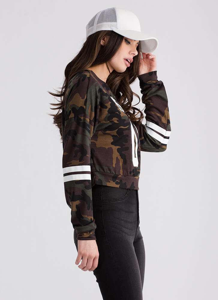 Number One Babe Camo Graphic Top CAMOUFLAGE