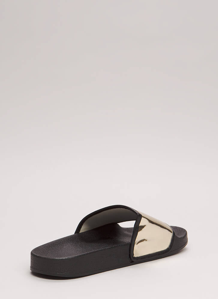 My Time To Shine Platform Slide Sandals BLACK