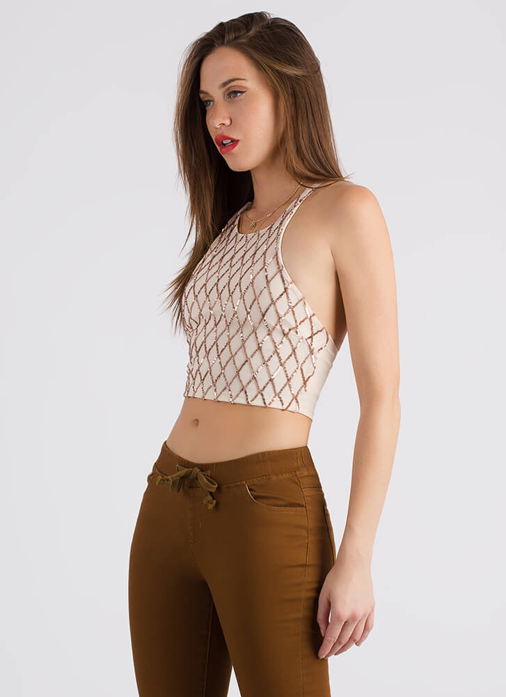 Wearing Diamonds Sequined Mesh Crop Top GOLD