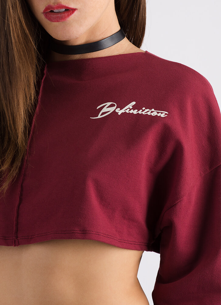 The Definition Of Cool Graphic Crop Top BURGUNDY