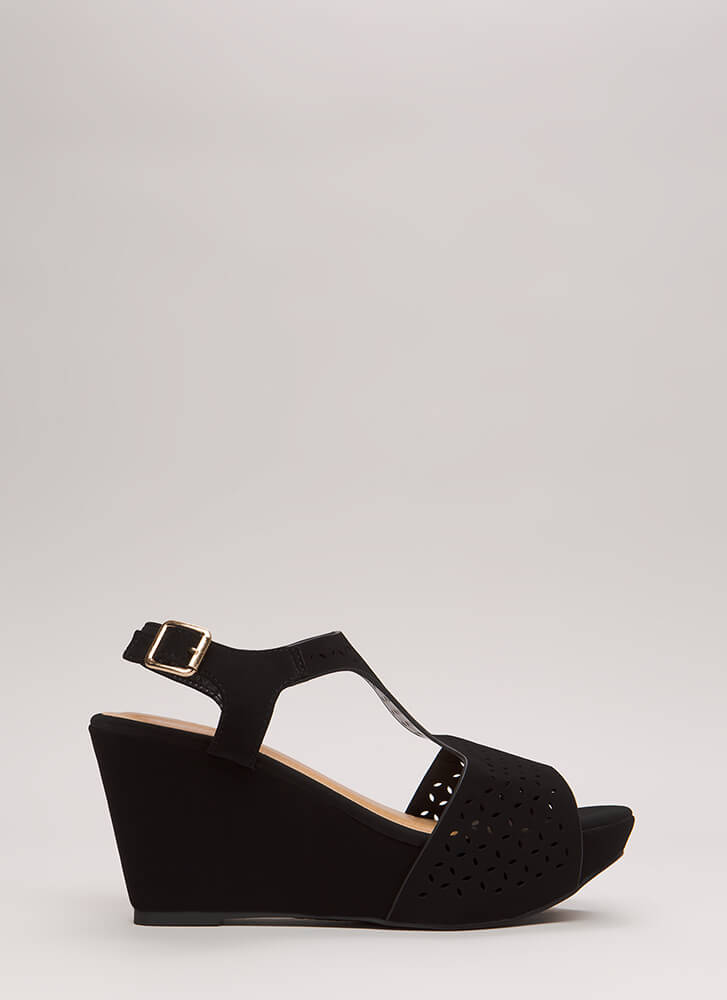 Open Your Eyelets Faux Nubuck Wedges BLACK