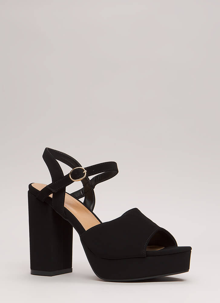 Get Thick Chunky Faux Nubuck Platforms BLACK