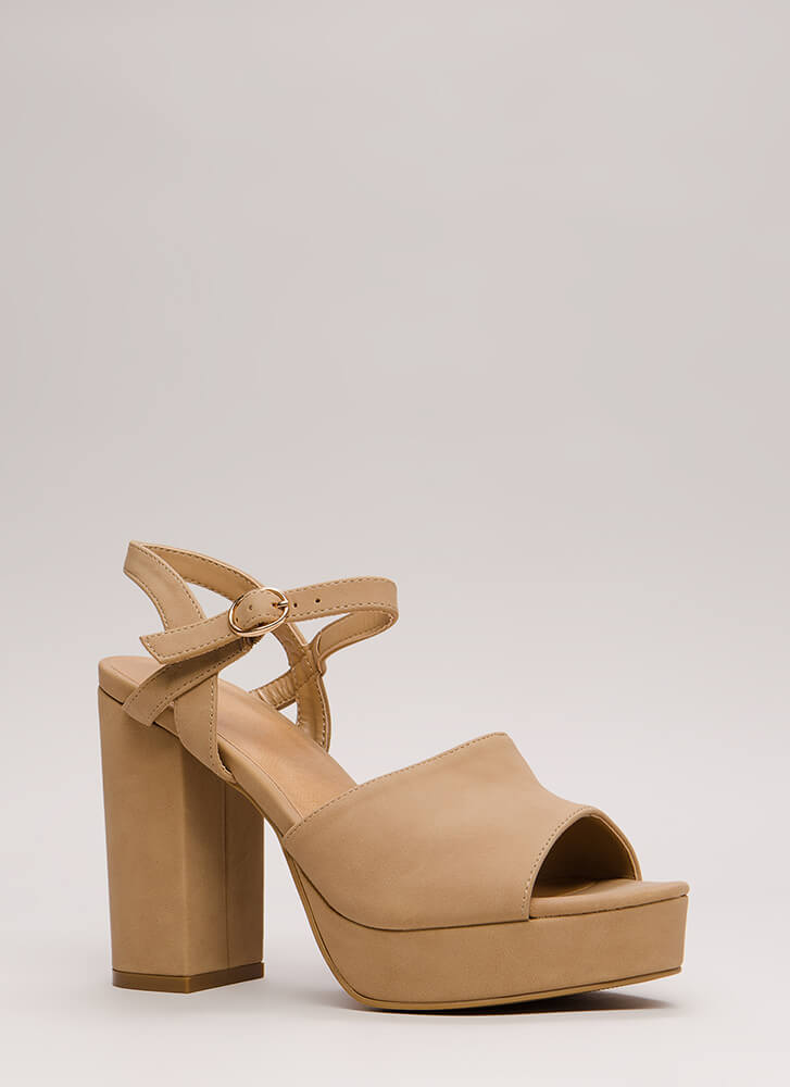 Get Thick Chunky Faux Nubuck Platforms NATURAL