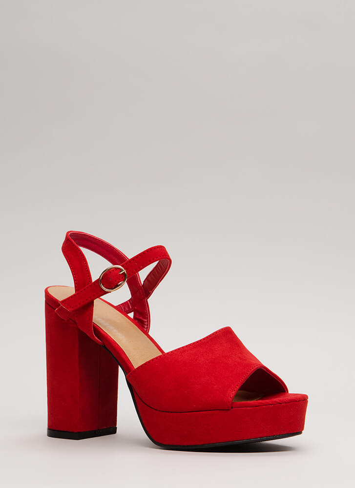 Get Thick Chunky Faux Suede Platforms RED (Final Sale)