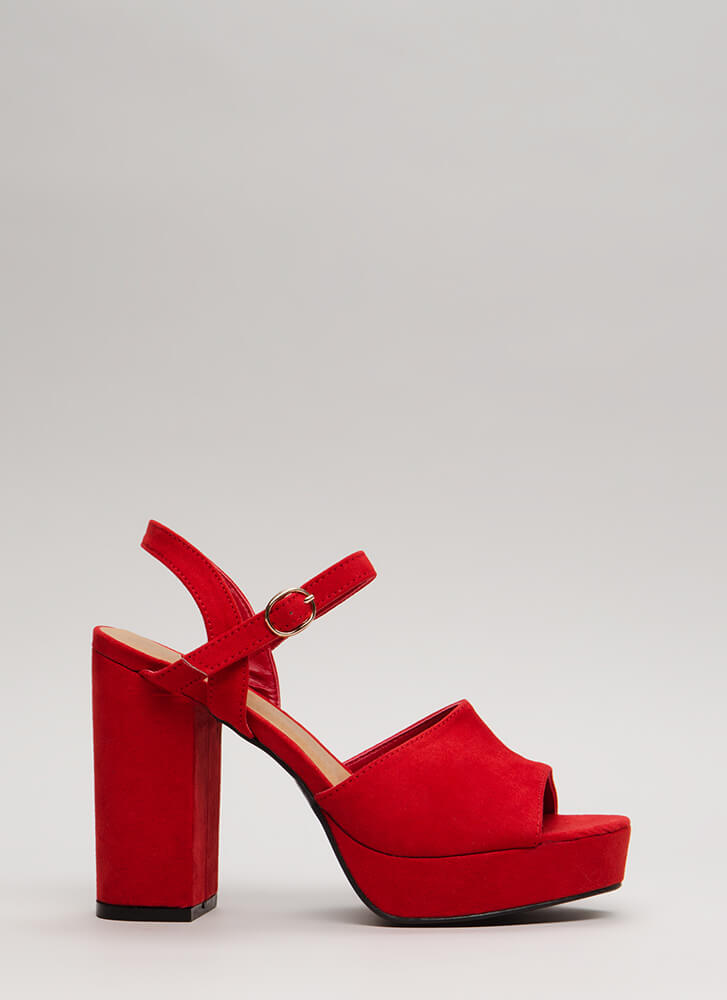 Get Thick Chunky Faux Suede Platforms RED