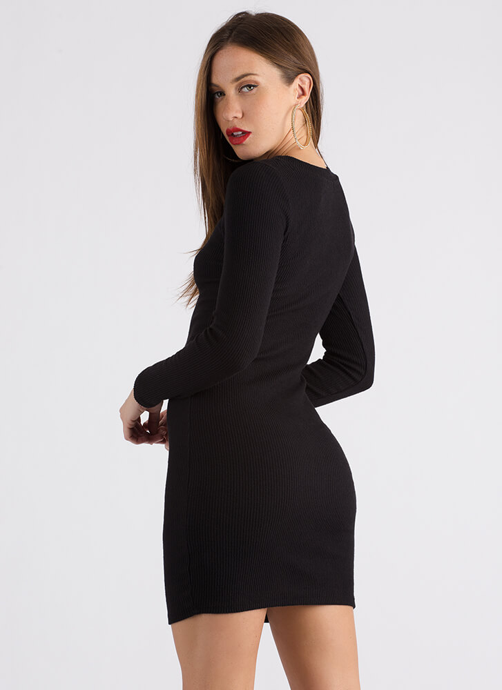 Doing It All Basic Rib Knit Dress BLACK