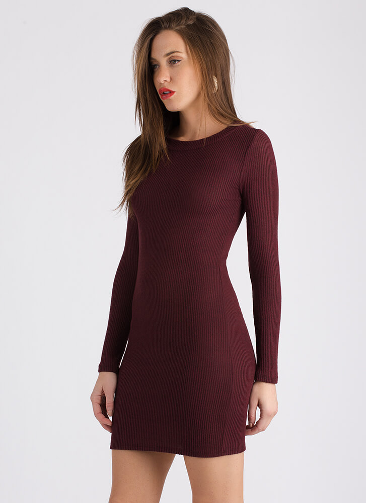 Doing It All Basic Rib Knit Dress MERLOT