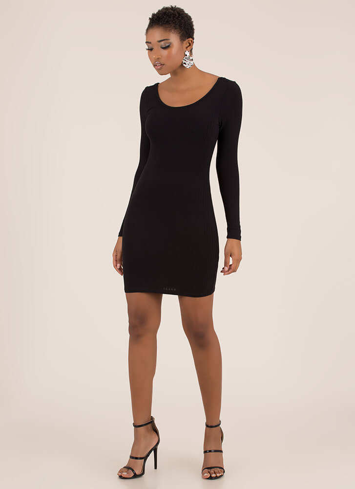 Back Into It Ribbed Scoop Neck Dress BLACK