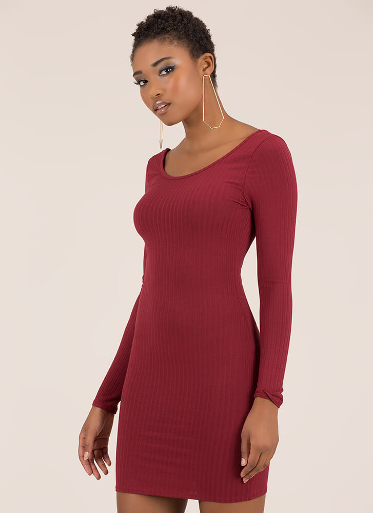 Back Into It Ribbed Scoop Neck Dress BURGUNDY