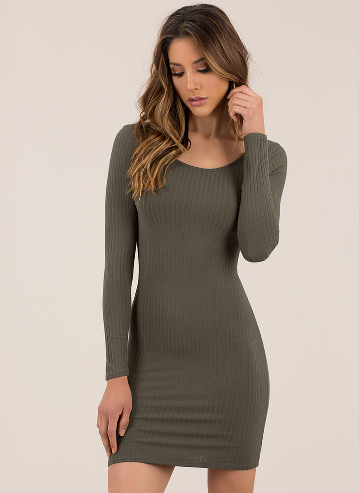 Back Into It Ribbed Scoop Neck Dress OLIVE