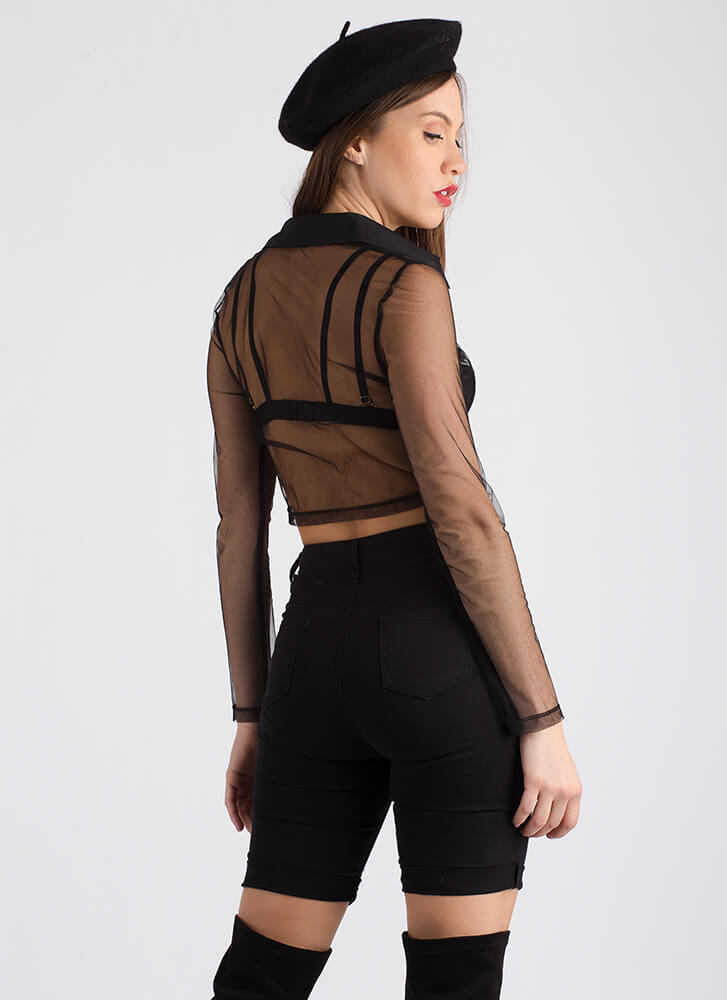 Positively Sheer Cropped Mesh Blouse BLACK