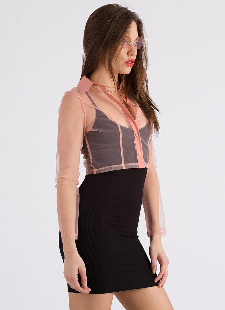Positively Sheer Cropped Mesh Blouse PINK