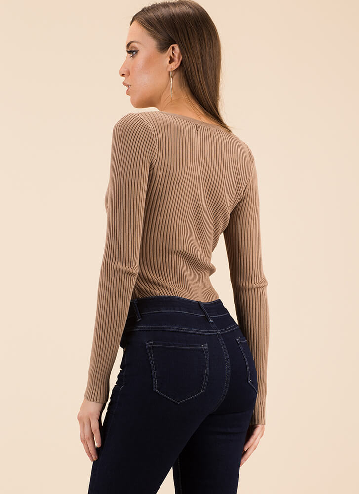 Snap To Attention Ribbed Thong Bodysuit MOCHA