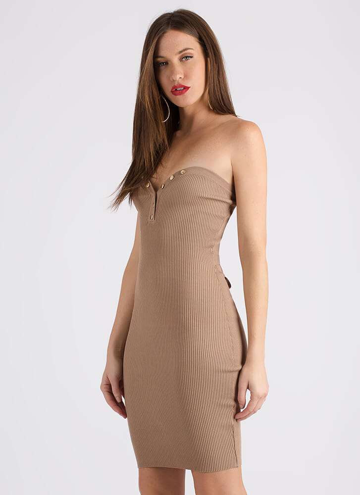 Oh Snap Ribbed Sweetheart Tube Dress MOCHA (Final Sale)