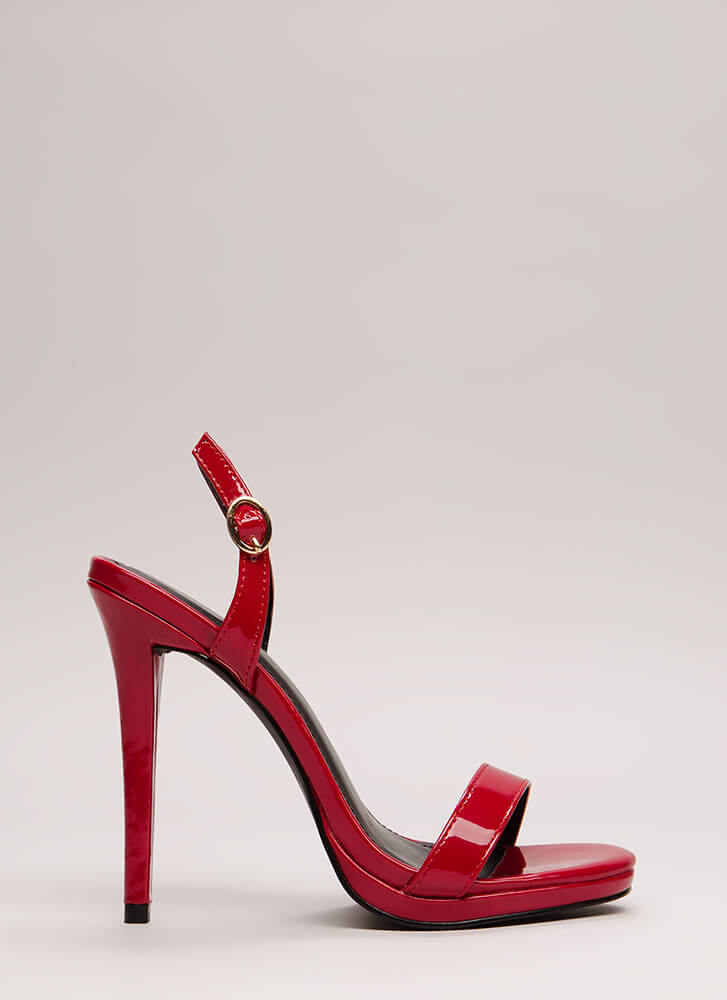 Slingback In The Game Faux Patent Heels RED