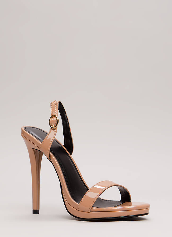 Slingback In The Game Faux Patent Heels TAUPE (Final Sale)