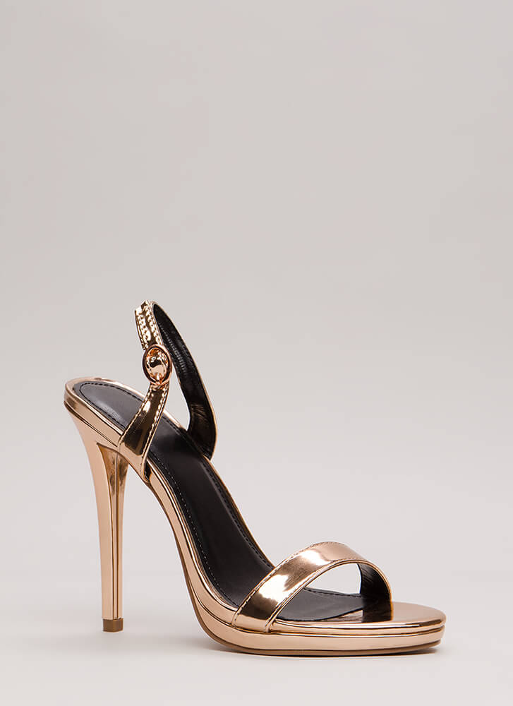 Slingback In The Game Metallic Heels ROSEGOLD