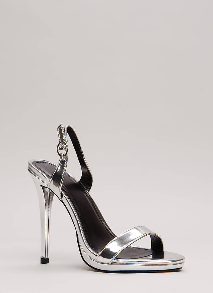 Slingback In The Game Metallic Heels SILVER