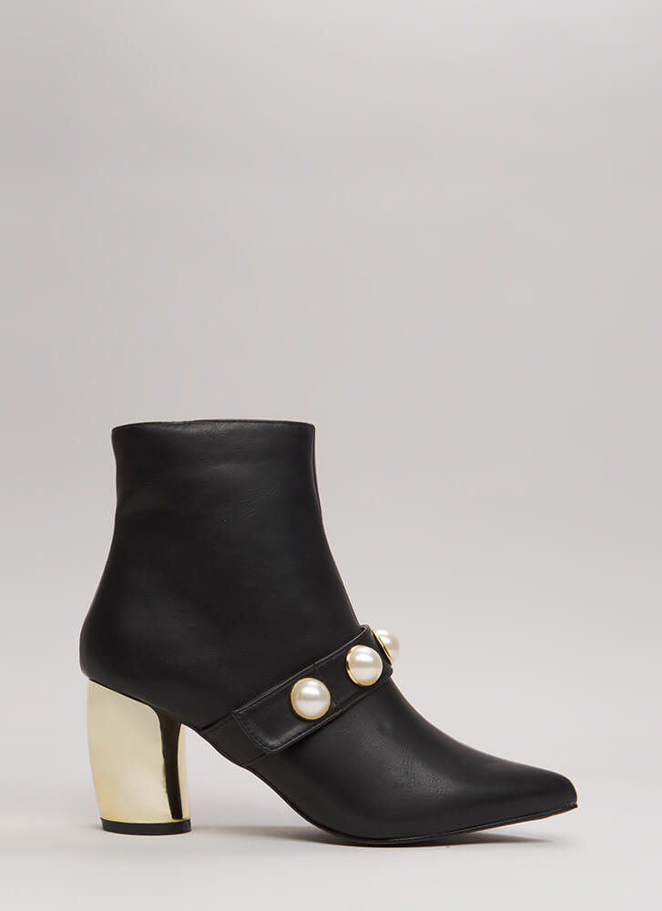 Pearl Squad Chunky Curved Heel Booties BLACK