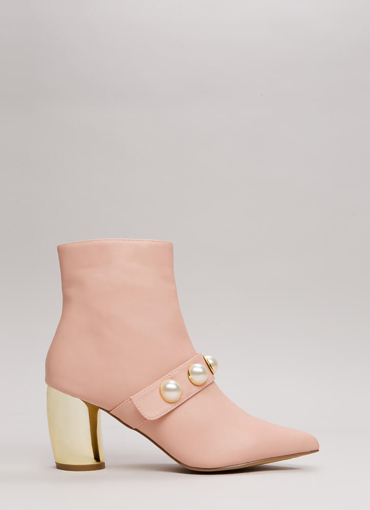 Pearl Squad Chunky Curved Heel Booties BLUSH