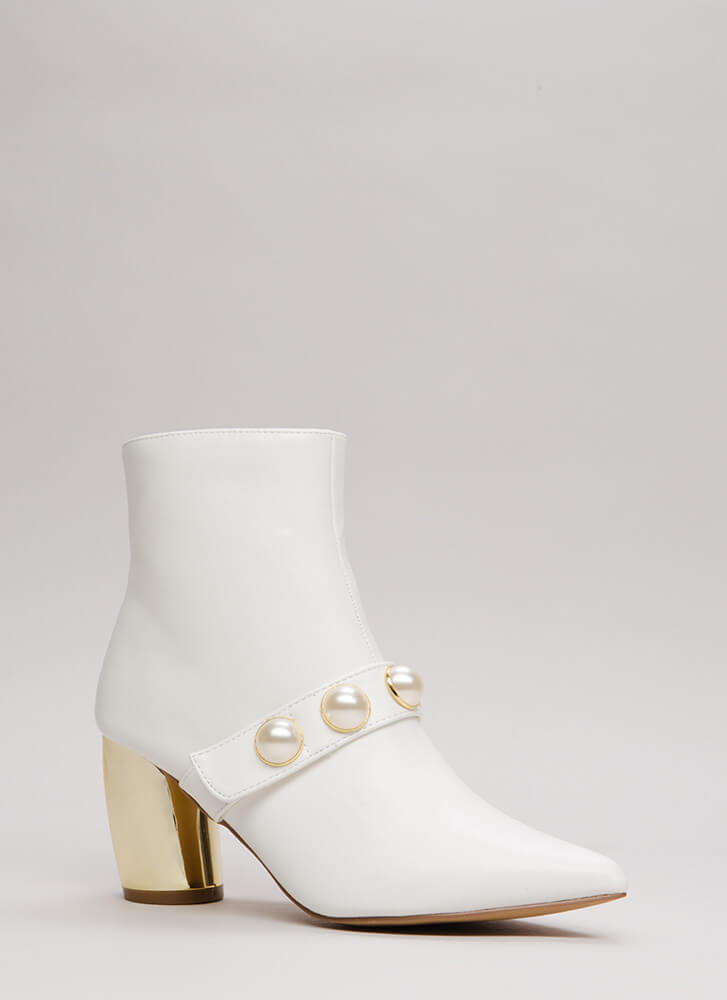 Pearl Squad Chunky Curved Heel Booties WHITE