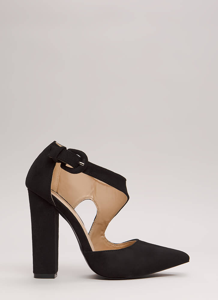 Swoop Dreams Chunky Cut-Out Pointy Heels BLACK