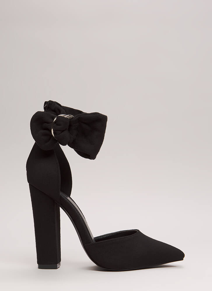 A Wrap Chunky Pointy Ankle Cuff Heels BLACK
