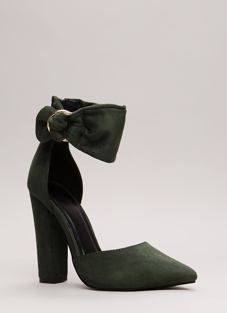 A Wrap Chunky Pointy Ankle Cuff Heels HUNTERGREEN