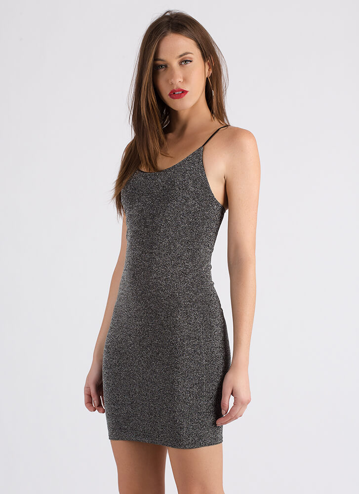 Go For The Glitter Sparkly Tank Dress BLACK