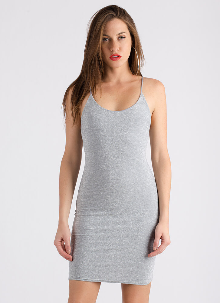 5e849956ee Go For The Glitter Sparkly Tank Dress GREY (Final Sale) ...