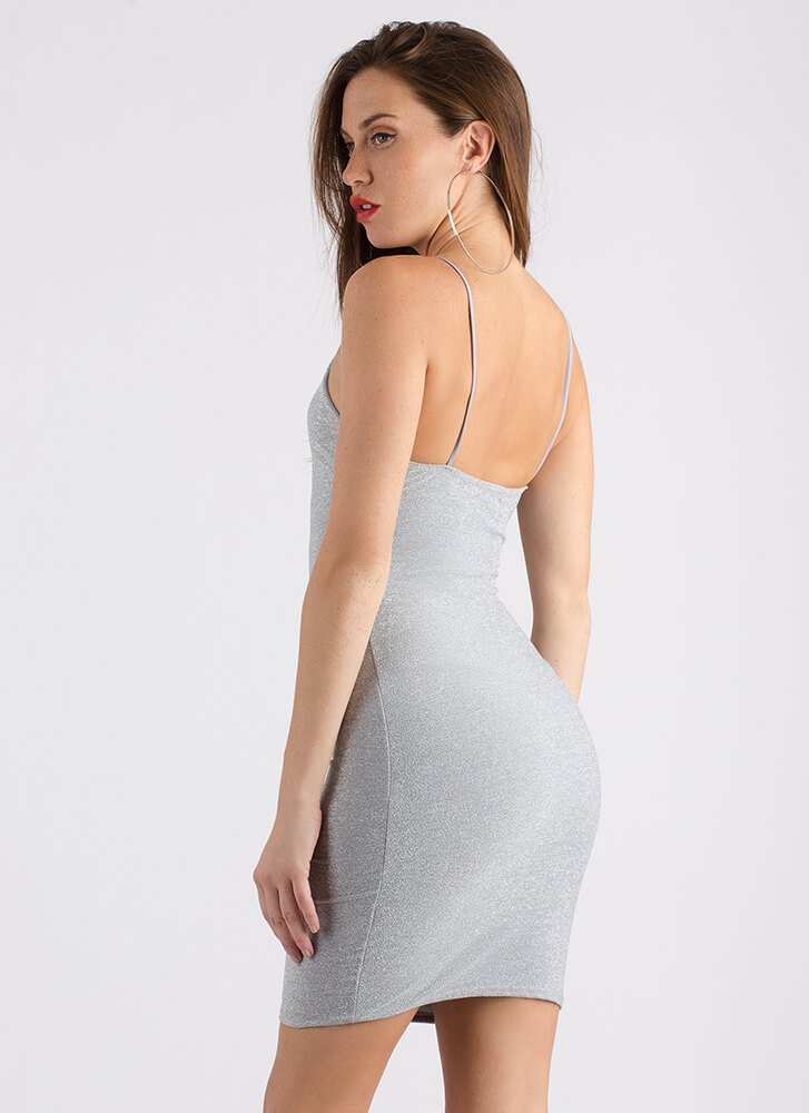 Go For The Glitter Sparkly Tank Dress GREY