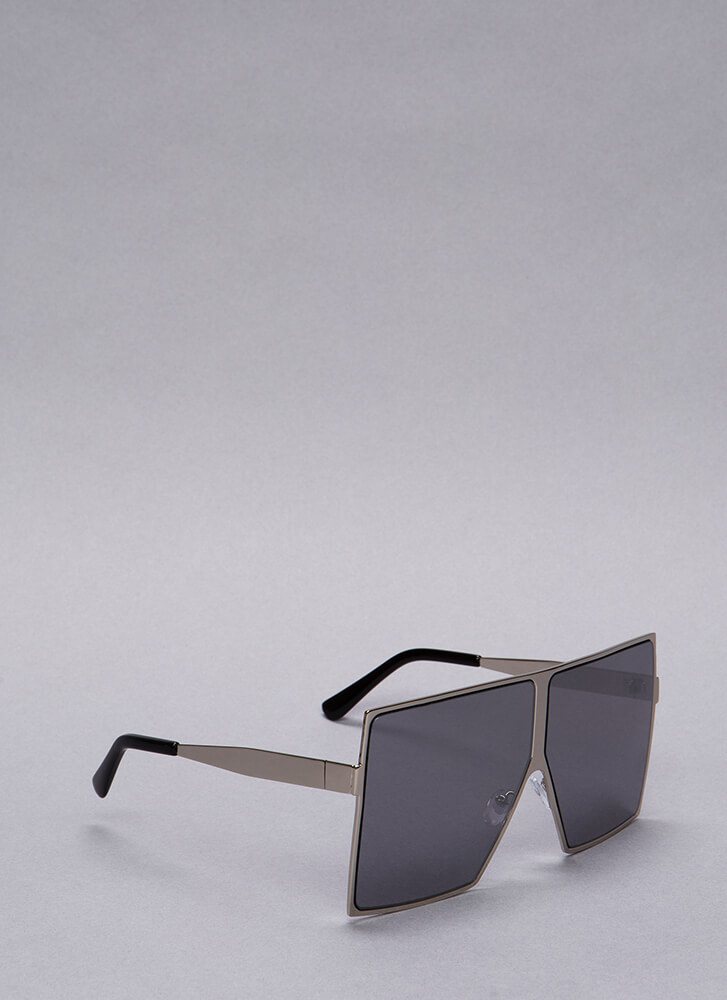 Be There Be Square Oversized Sunglasses SILVER