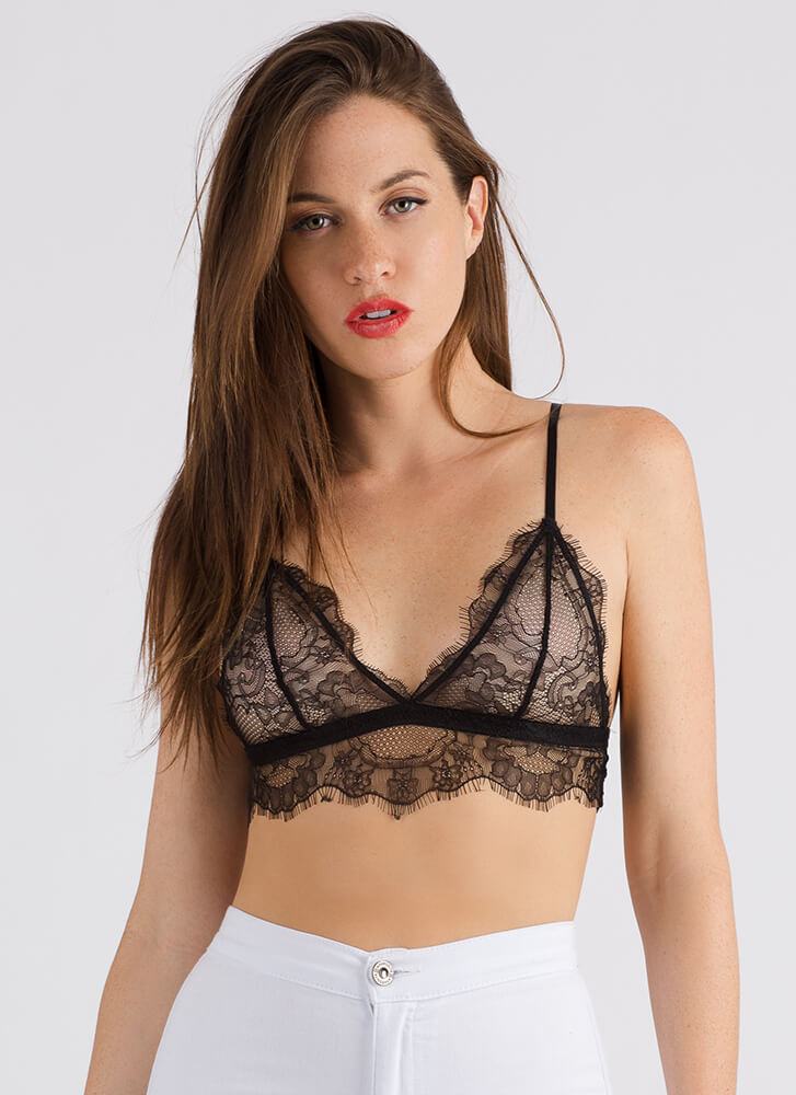Wisp Me Away Scalloped Lace Bralette BLACK (Final Sale)