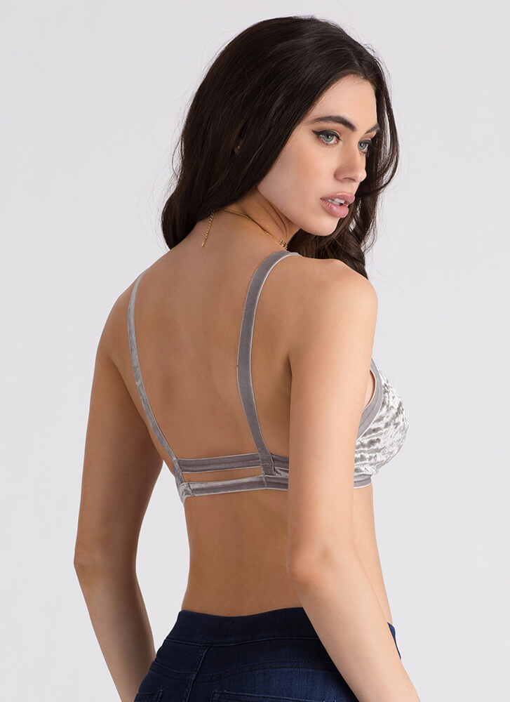 Feeling Strappy Crushed Velvet Bralette GREY