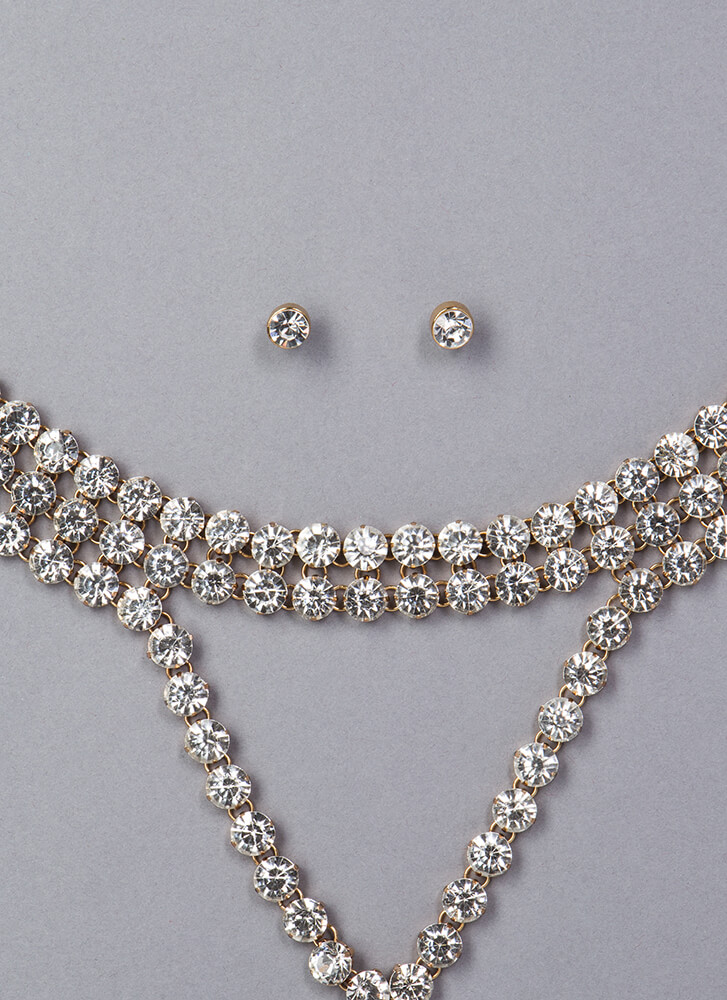 Dripping Faux Diamond Choker Set GOLD