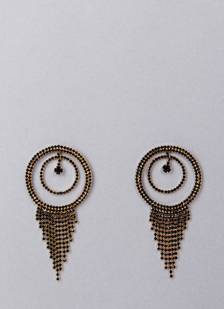 Fringe Fan Round Rhinestone Earrings BLACK