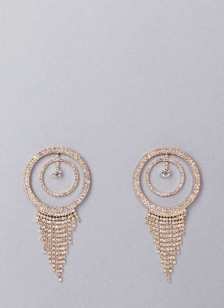 Fringe Fan Round Rhinestone Earrings GOLD (You Saved $9)