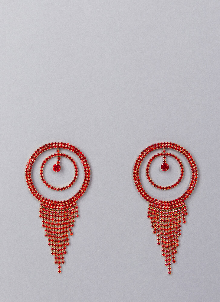 Fringe Fan Round Rhinestone Earrings RED (You Saved $9)
