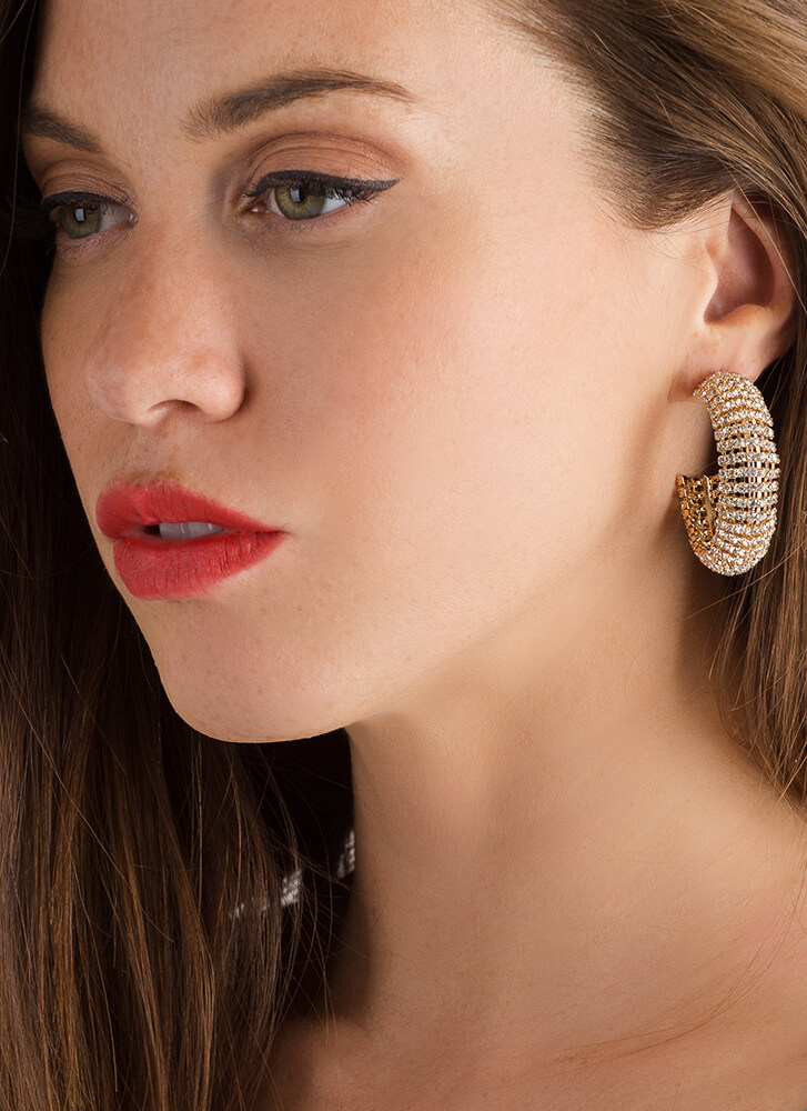 Toot Your Own Horn Jeweled Earrings GOLD (Final Sale)