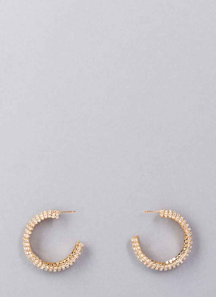 Toot Your Own Horn Jeweled Earrings GOLD