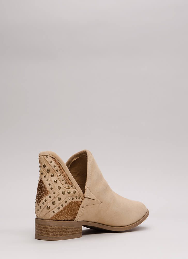 Head West Studded Embroidered Booties NUDE