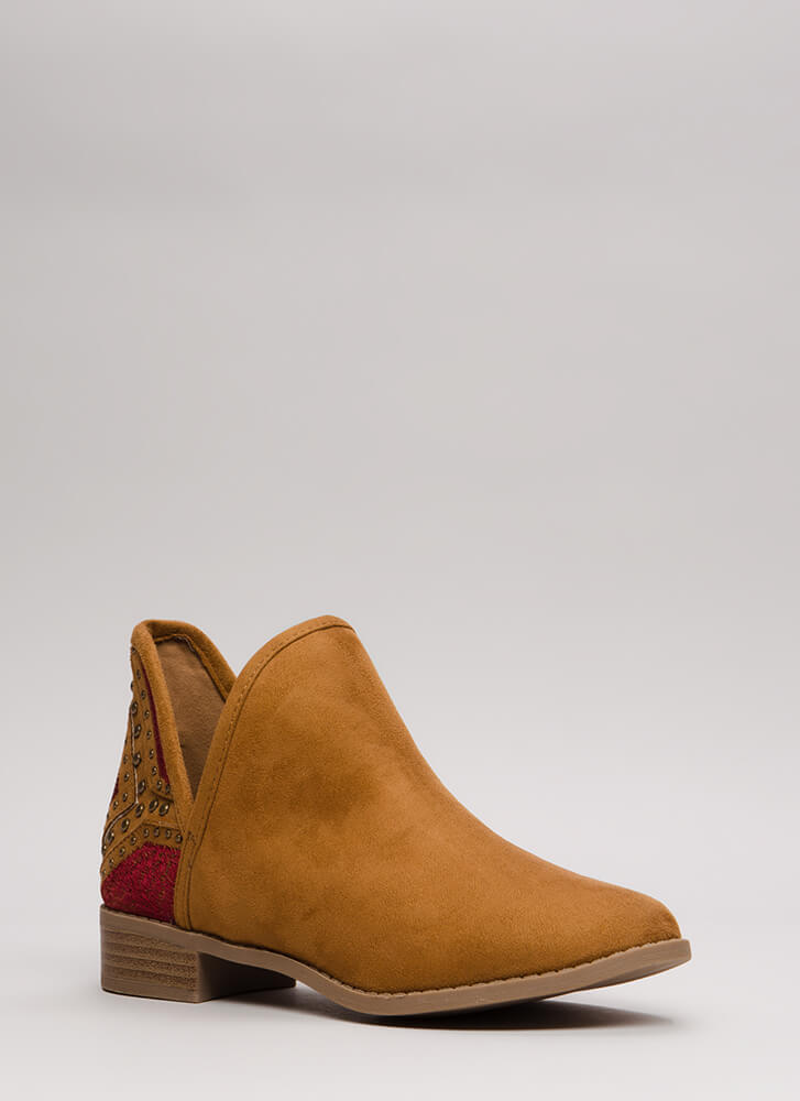 Head West Studded Embroidered Booties TAN