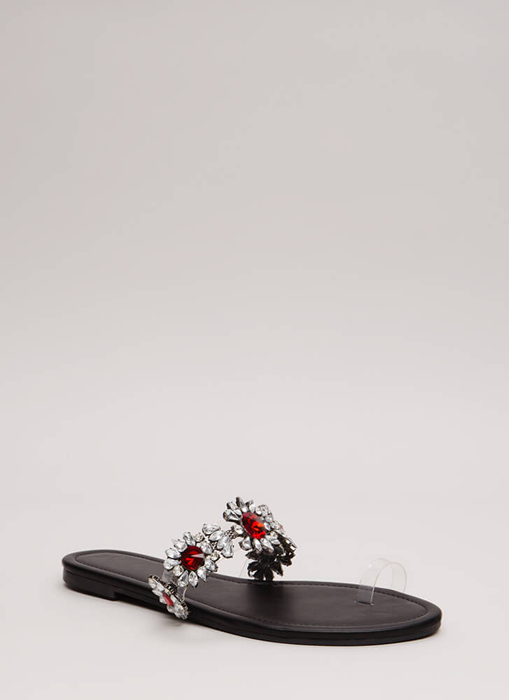 It's Clear Jeweled Flower Sandals BLACK