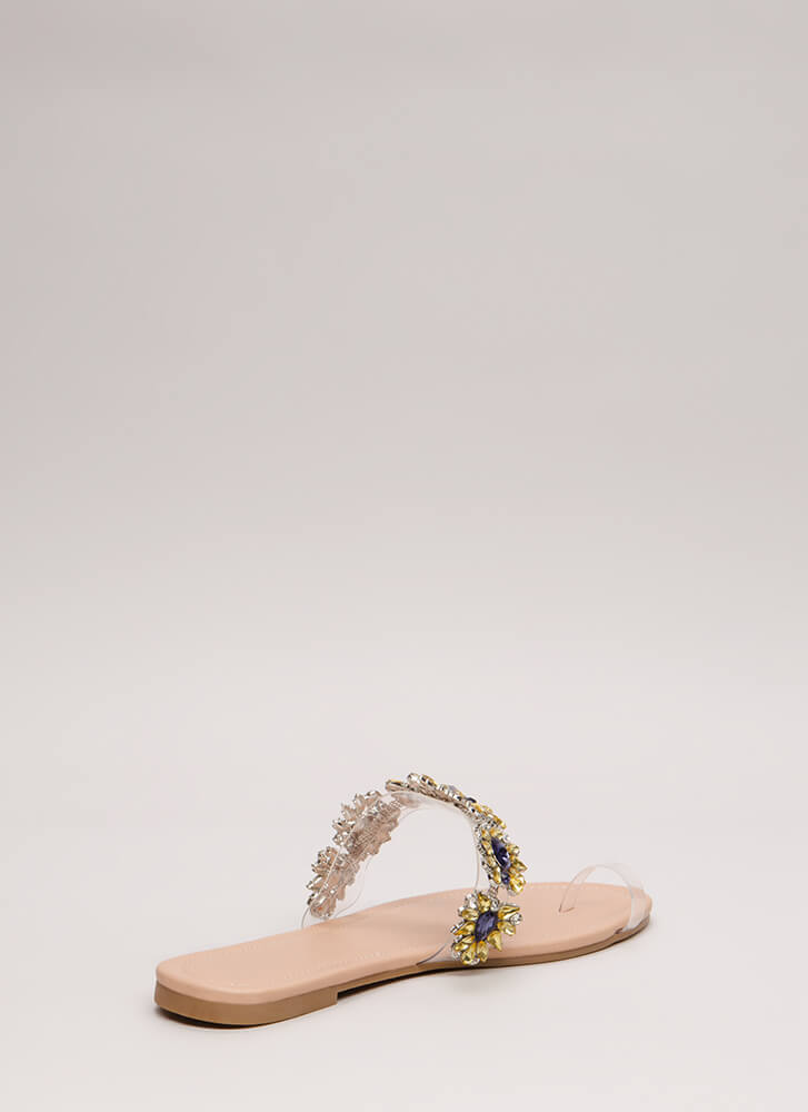 It's Clear Jeweled Flower Sandals NUDE